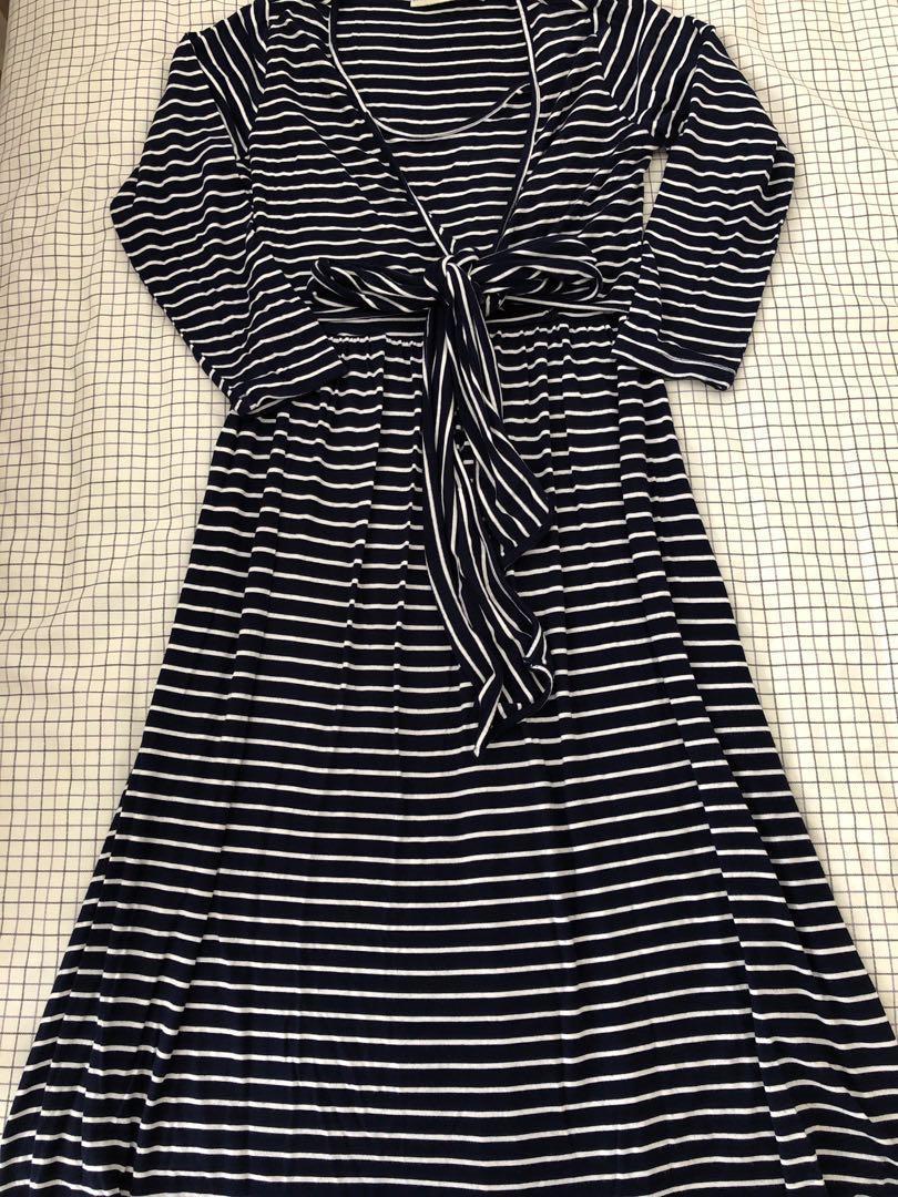 Maternity Dress long sleeves navy white stripes