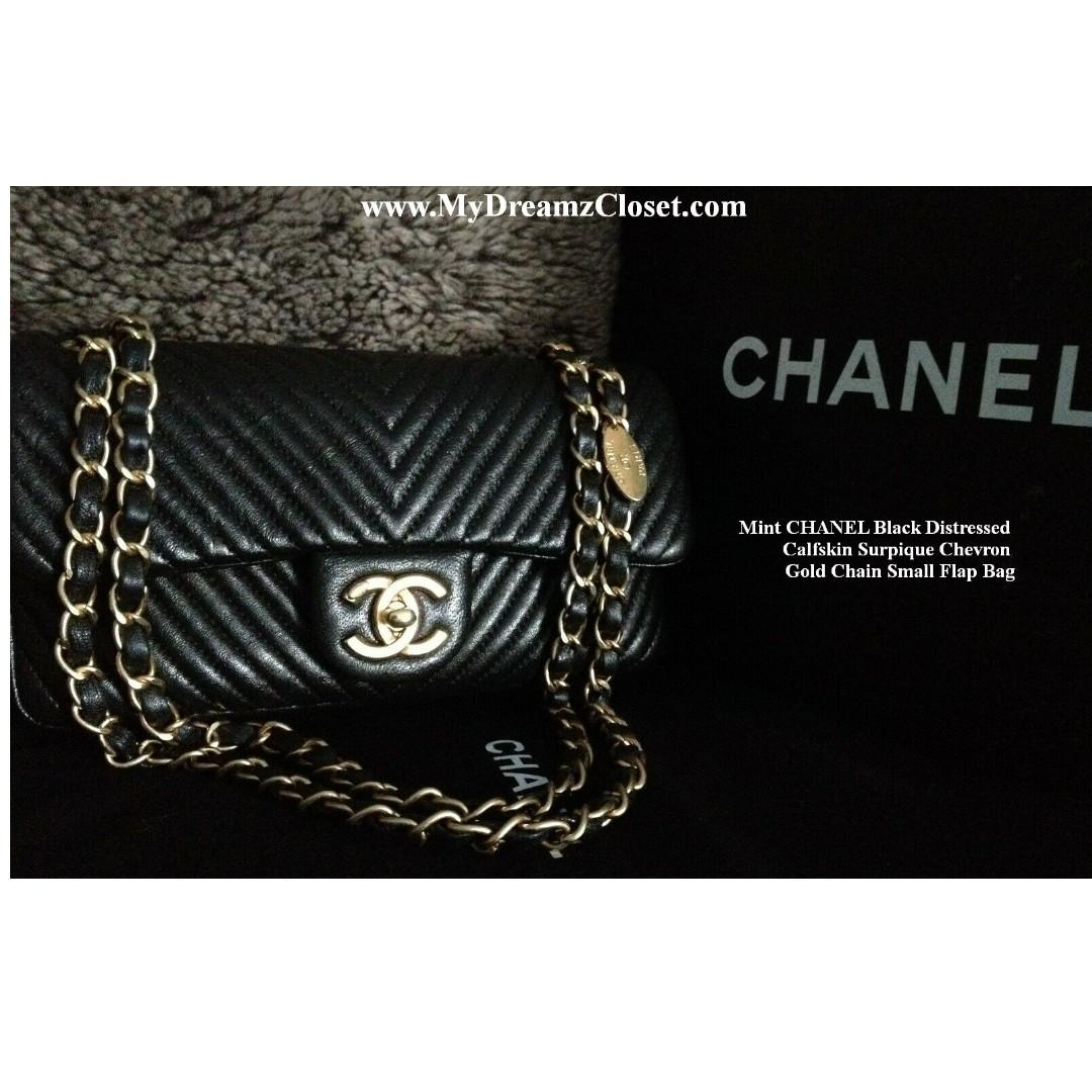 Mint CHANEL Black Distressed Calfskin Surpique Chevron Gold Chain Small Flap Bag