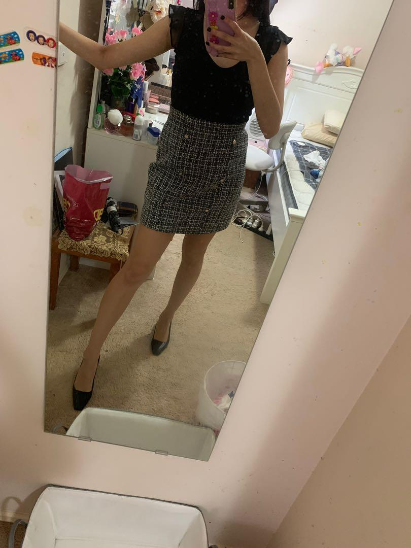Miss Valley (Valley Girl) Double Breasted Plaid Tweed Skirt - AU Size 8