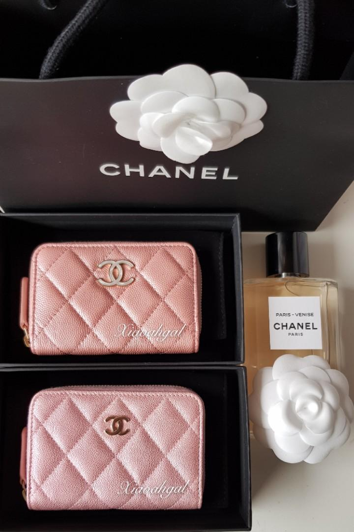 💖My 19S!💖 RARE Chanel iridescent pink zipped cardholder wallet in enemal mother pearl and gold hardware