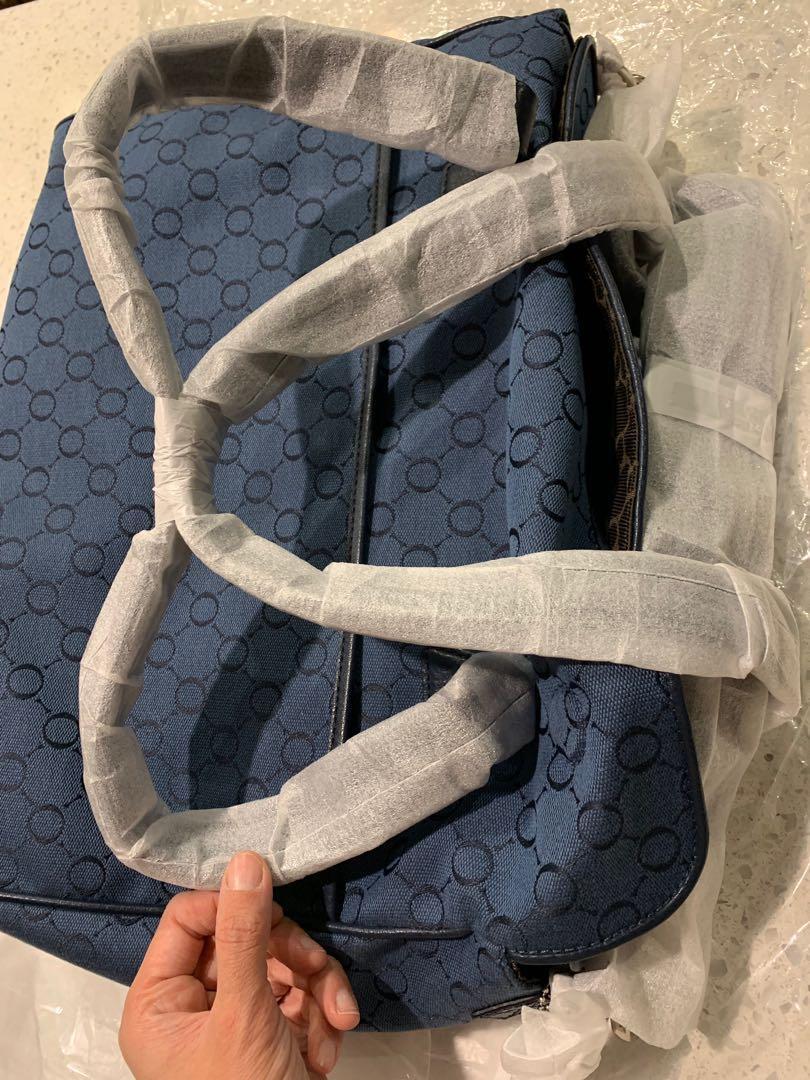 NEW Oroton Signature O Nappy Baby Bag Tote Handbag Black Canvas Leather RRP$495
