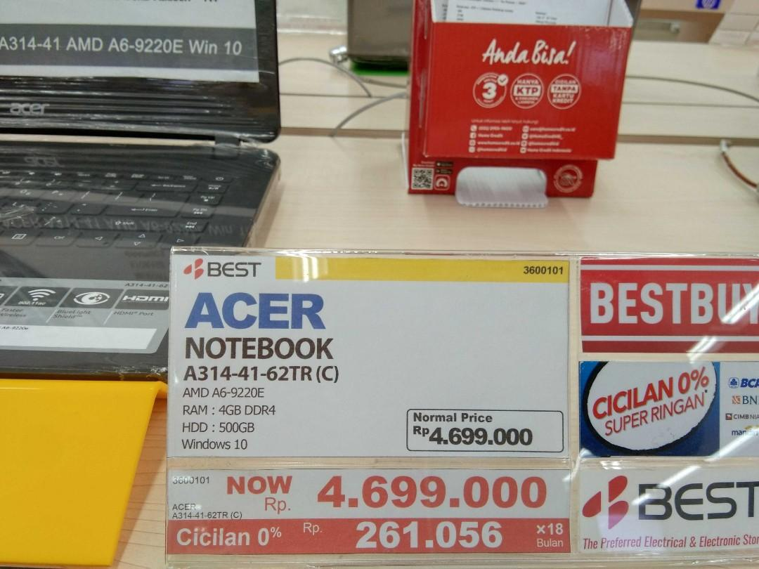Notebook ACER AMD Garansi Resmi Bisa dicicil tanpa Cc