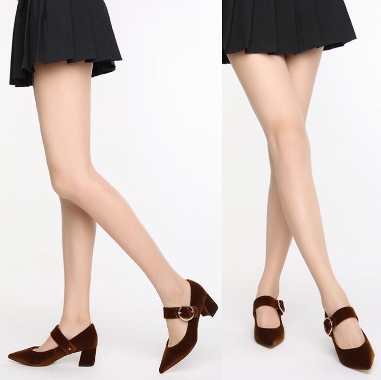 *NWOB* STACCATO Velvet Block Heel Mary Janes in Light Brown (fits 7)