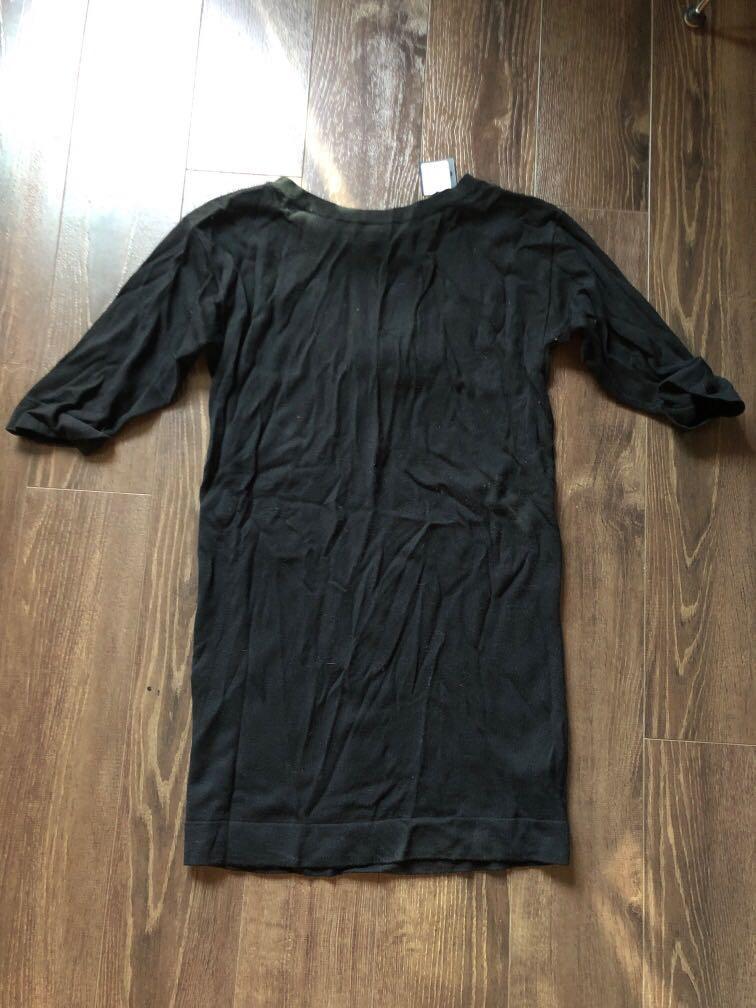 NWT Club Monaco Black Sweater Dress with White Ties XS