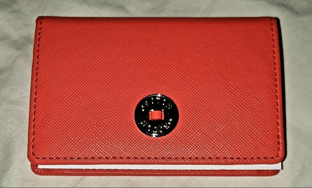 Oroton Business Card Holder Bright Orange RRP $125