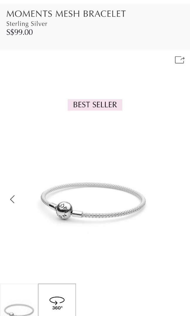 09d8ab838 Pandora Moments Mesh Bracelet, Women's Fashion, Jewellery, Bracelets on  Carousell