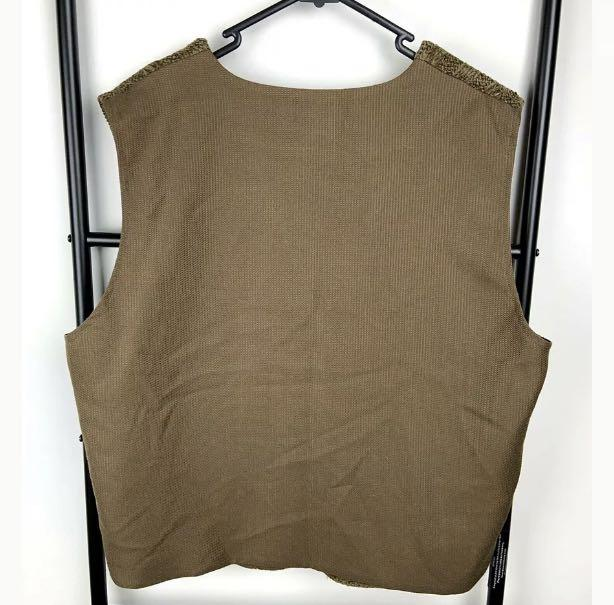 Perri Cutten sz L brown camel classic textured women vests jacket top designer