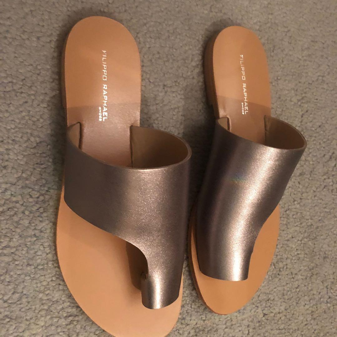 Pewter leather sandals
