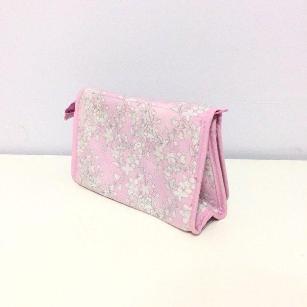 Pink floral Naraya cosmetic pouch