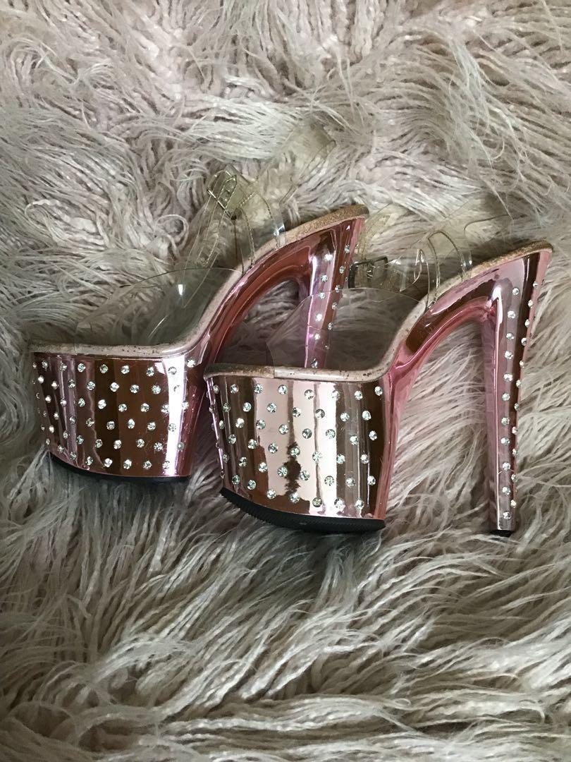 """Pleaser Stardust Pink/Rhinestone 7"""" Stiletto Heels"""