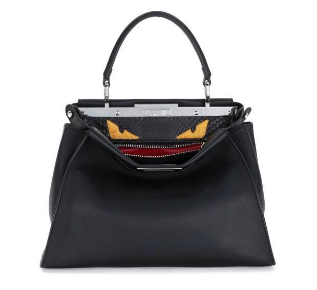 Prada Peekaboo Medium Monster Eyes Satchel Bag, Black/Yellow