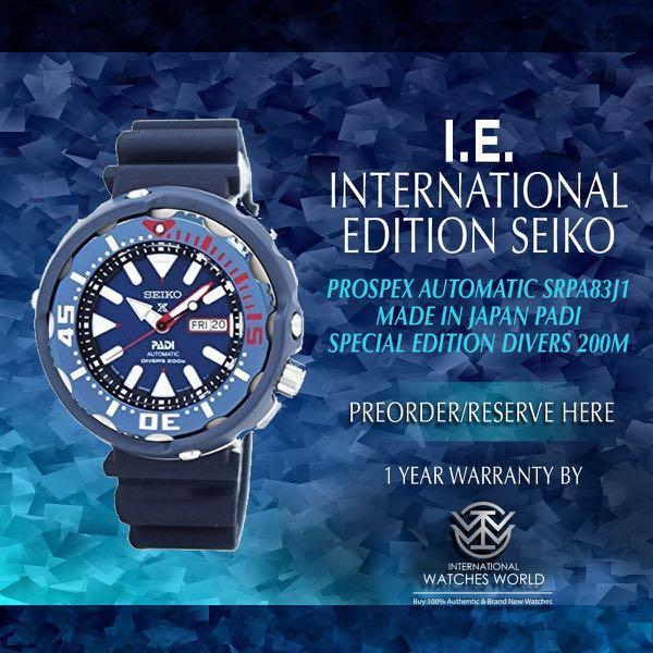 SEIKO INTERNATIONAL EDITION PROSPEX TUNA AUTOMATIC MADE IN JAPAN PADI EDITION SRPA83J1 DIVER 200M