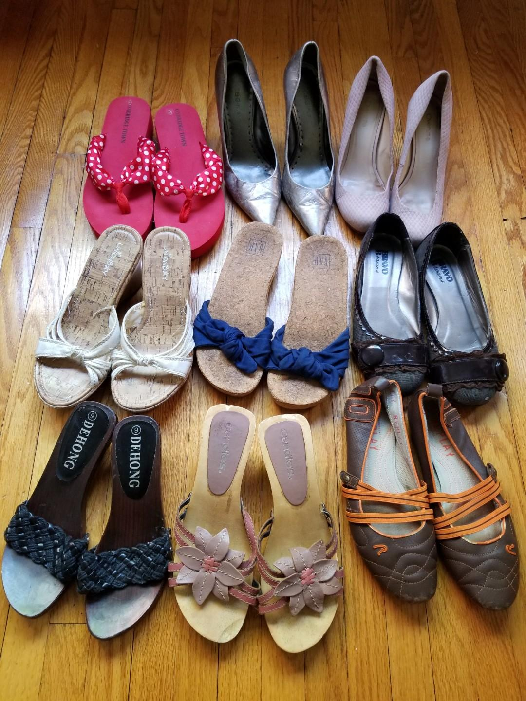 Shoe clearance size 7 leather BCBG Brown's Replay. FirstRow $15. Second and third row $8. Flip Flops $5. Take all six pairs in last two rows for $30 or take all three pairs first row for $40. All size 7. Pick