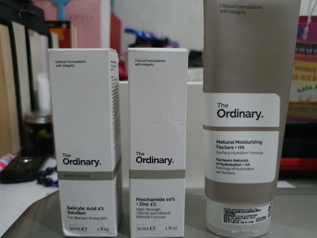 The Ordinary Salicylic Acid 2% Solution, Niacinamide 10%+Zinc 1%, Natural Moisturizing Factors+HA