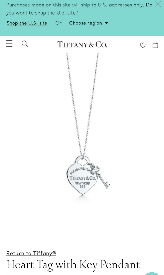 08cdeec15 Tiffany & Co Heart Tag Key Pendant Necklace, Women's Fashion, Jewellery,  Necklaces on Carousell