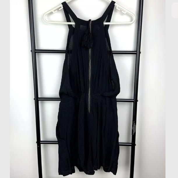 Tigerlily sz 8 black semi sheer women halter romper playsuit jumpsuit boho hippy