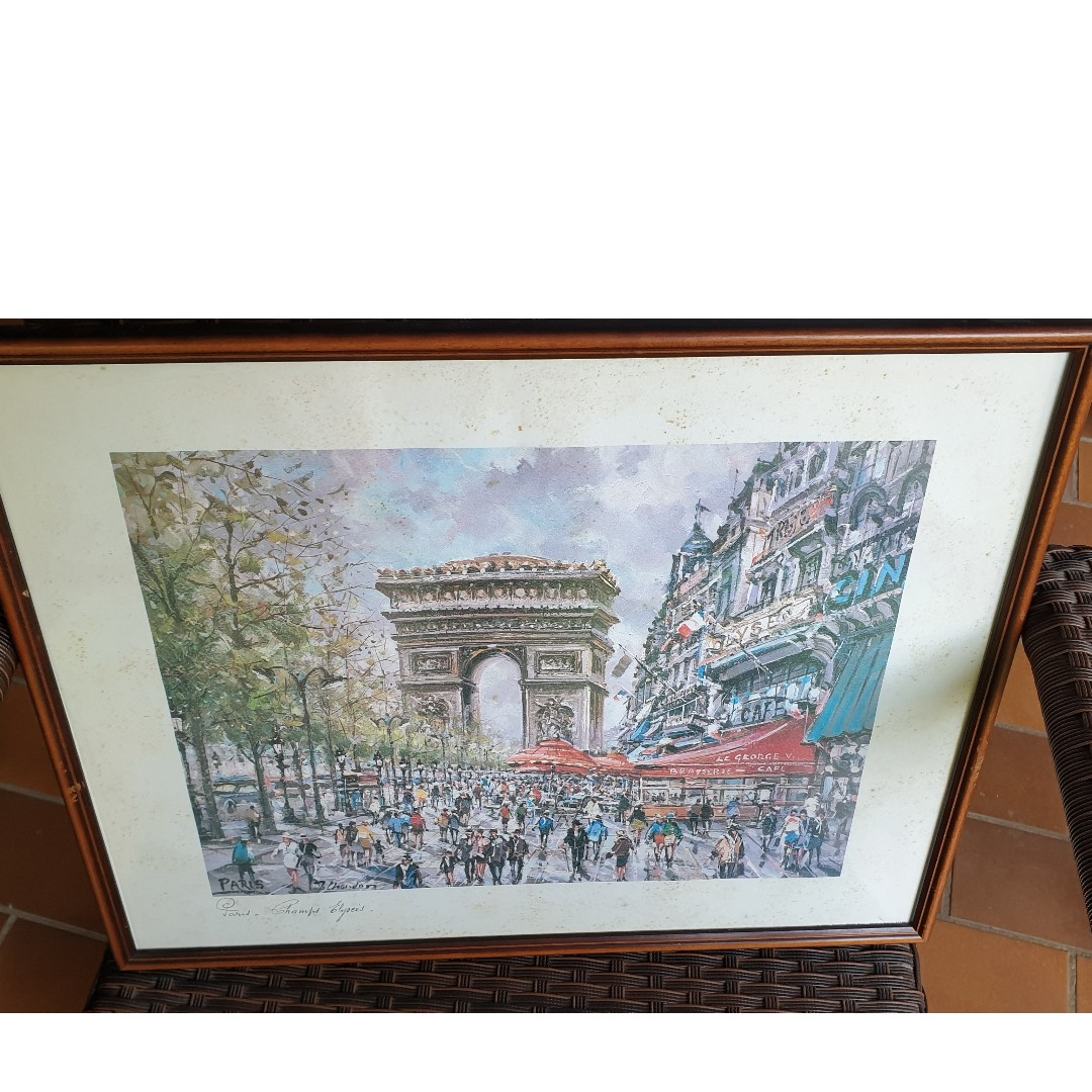 Used Wall Painting Of Paris Champs Elysees On Wood Frame