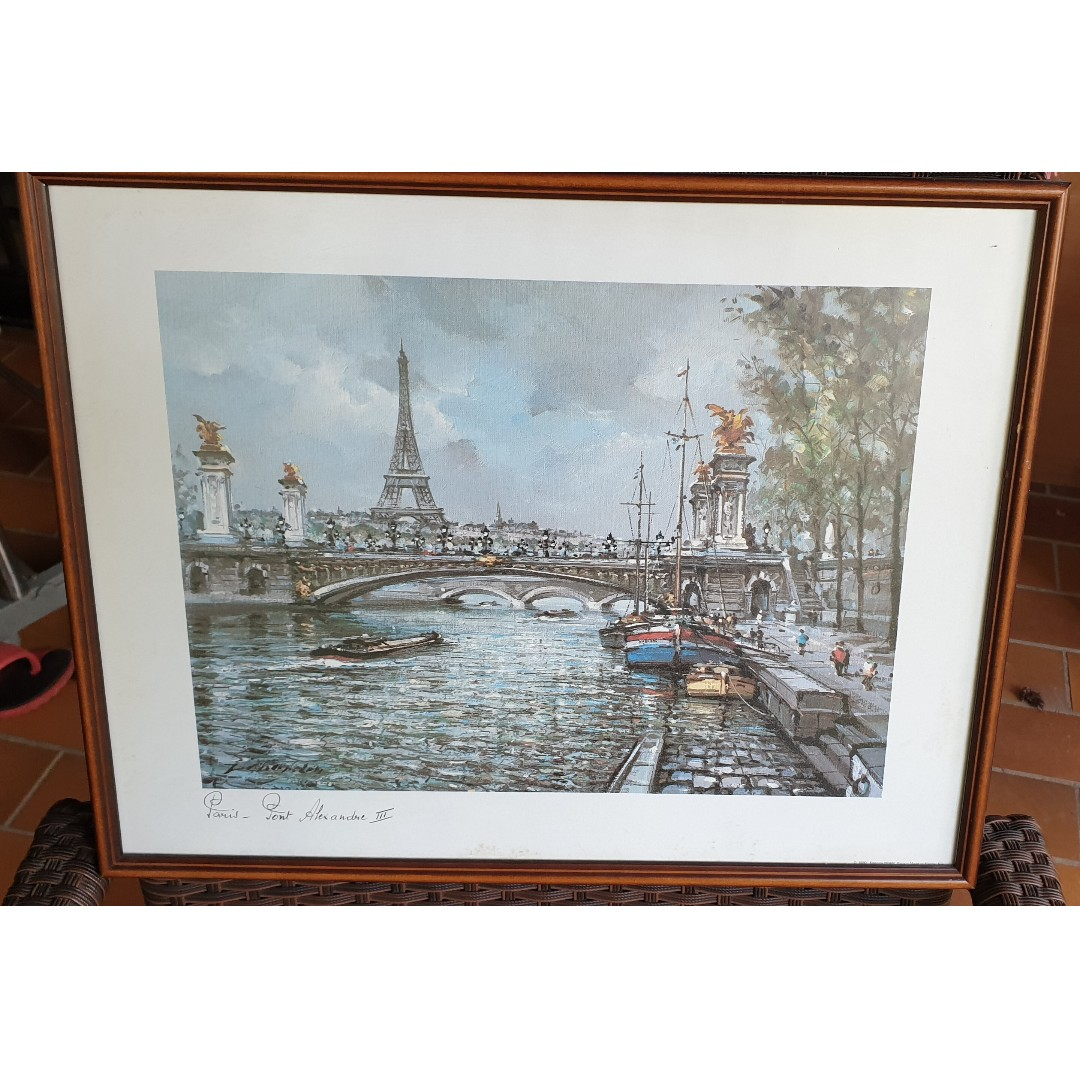 Used Wall Painting Of Paris Scenery With Famous Eiffel Tower As