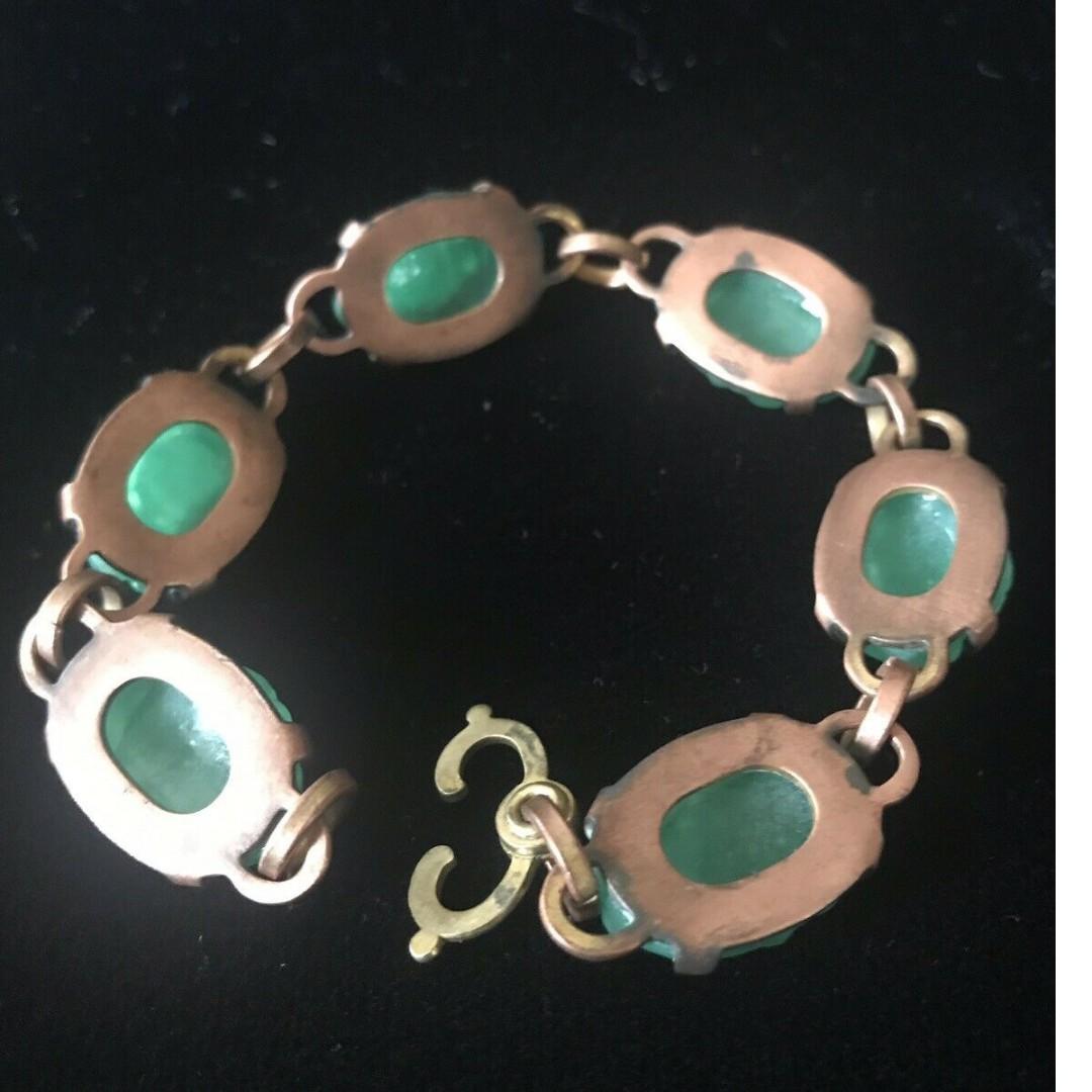 Vintage Carved Faux Jadeite Link Copper Bracelet Jade Green Cabochon