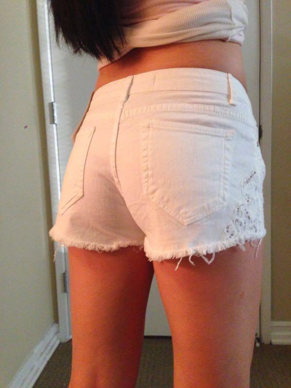 Zara white denim shorts