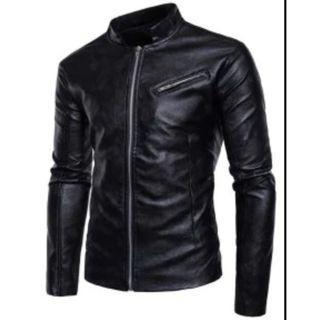 Stand Collar Zipper Design Faux Leather Jacket - Black XL