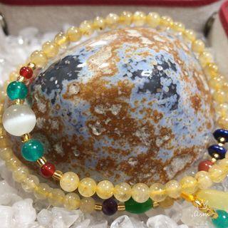 Rutile Quartz Bracelet with amber charm