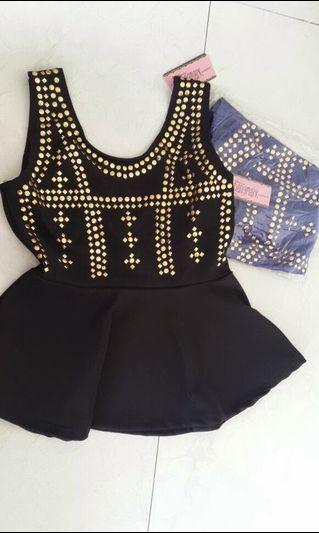 Atasan peplum / blouse / stud / zara / h&m