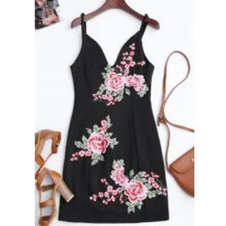 Floral Embroidered Mini Bodycon Dress - Black XXL