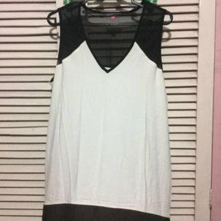 Authentic Vince Camuto White top with black mesh
