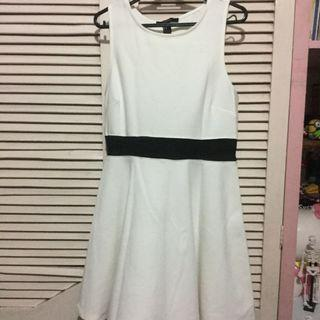 F21 white dress with mesh cutout