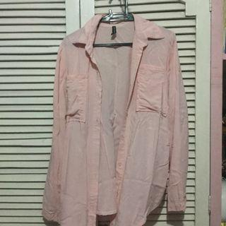Pink button down polo
