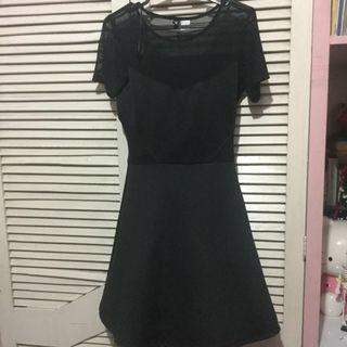 H&M LBD black dress with mesh cutouts