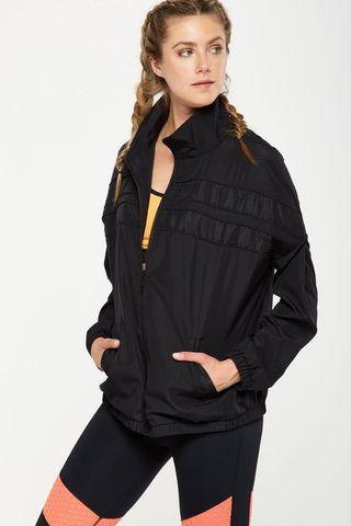 🚚 Black Laser Spliced Workout Jacket