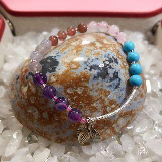 Turquoise, Rose Quartz, Strawberry Quartz, Moonstone & Amethyst Bracelet