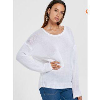 Patch Pocket Drop Shoulder Sweater - White XL