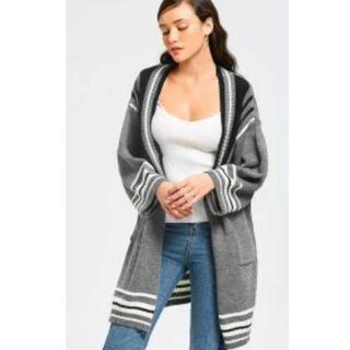 Stripes Panel Side Slit Open Front Cardigan - Gray ONESIZE