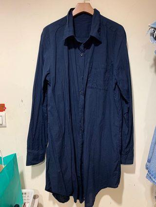 超美丈藍薄棉襯衫洋裝