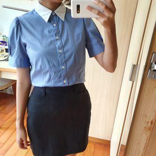 G2000 藍白配色滑面襯衫 短袖襯衫