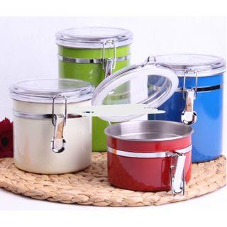 Set of 4 airtight stainless steel canisters with acrylic tops