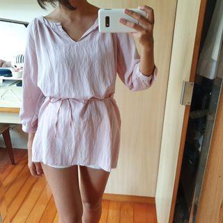 粉色棉麻綁帶長版上衣 襯衫 短洋裝