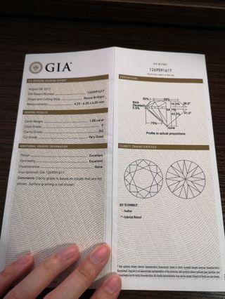 GIA 1.00卡鑽石 F色