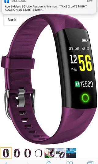Bluetooth Smart Watches, Waterproof Breathing Light Touch Screen Smart Watch with Heart Rate Monitor Bluetooth Smart Bracelet Blood Pressure Monitor Wrist Band for Women Men - Purple