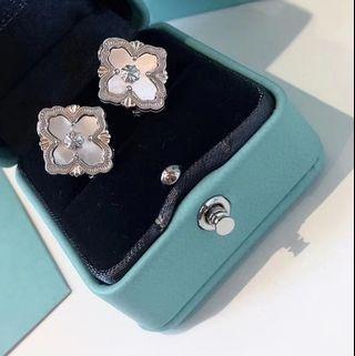 925 純銀 鍍金經典菱形 四葉草 白貝母 耳環