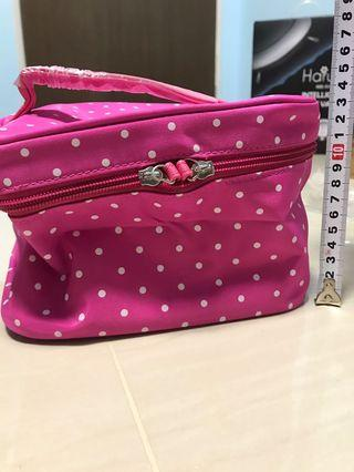 🚚 Pink Polka Dots Multi Purpose Cosmetic/Travel Pouch