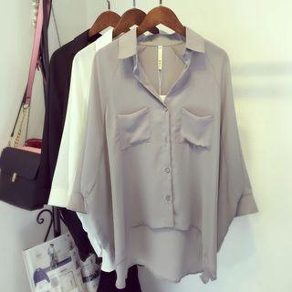 🚚 【全新】前短後長寬鬆雪紡襯衫