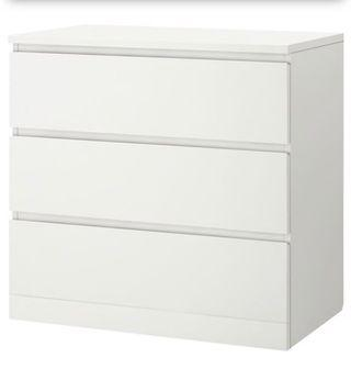 Malm 3 drawers w/ glass top