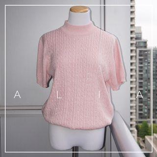 *Perfect Condition* Alia Short Sleeve Knit Top in Pale Pink with Metallic Women Size L