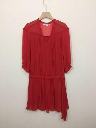 DVF red silk cover dress size 6