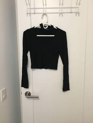 Top shop ribbed crop top with choker