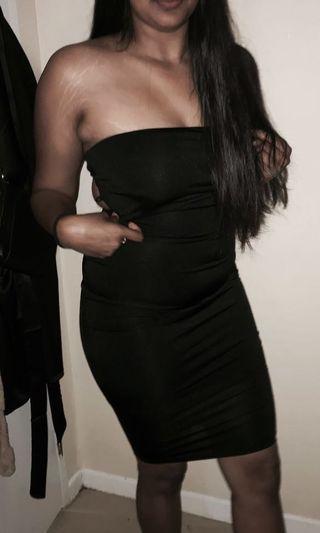 Mendo Black Strapless Tie Up Dress